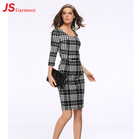 JS 20 Western European Office Ladies Winter Dress Designs Half Sleeves Pencil Dress On Sale 705
