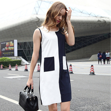 2016 Summer Fashion Office Lady Patchwork Dresses Smart Casual Elegant Contrast Pocket Sleeveless Round Neck Color Block Dress