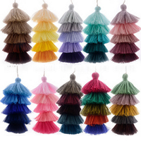Cotton Long Colorful Layered Tassel Jewelry Making Five Tier Tassel