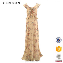 Ladies Spring Summer Bohemia Floral Printed Sleeveless Chiffon Woven Maxi Long Dress with Ruffles