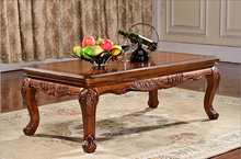 Vintage classical European style wooden long tea coffee table