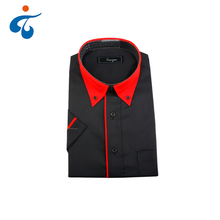 Bulk wholesale personalized cotton polyester short sleeve men black shirt uniform