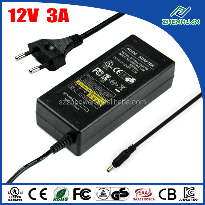 36W Universal Power Supply 12V 3A DC Adapters 100-240V 50-60Hz With UL CE