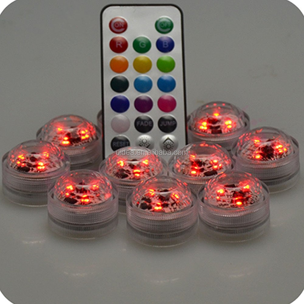 3-LED Multicolor Submarine Tea Light Mini Lamp With <strong>21</strong>-Key Multi-function Remote Controller, Can Adjust the Brightne