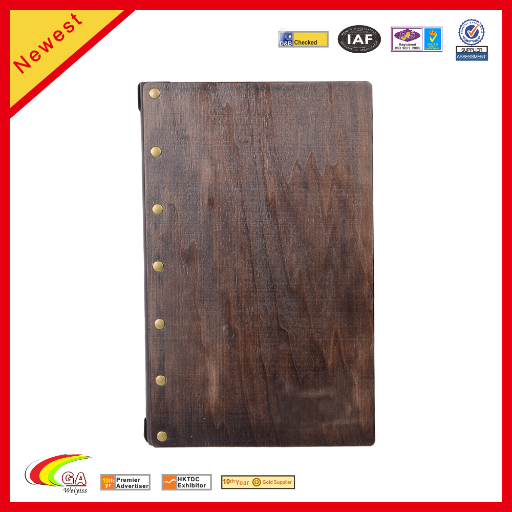 Wood Style 3 View Different Leather Menu Cover/Holder/Folder For Restaurant/Bar/Hotel
