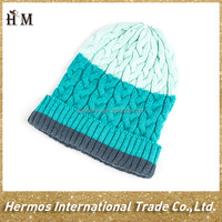 Stylish custom combined color warm twisted knitted beanie hat