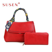 Summer Fashion SUSEN Women Ladies handmade PU Leather Handbag Bags