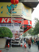 Box scaffolding system for hanging balloon