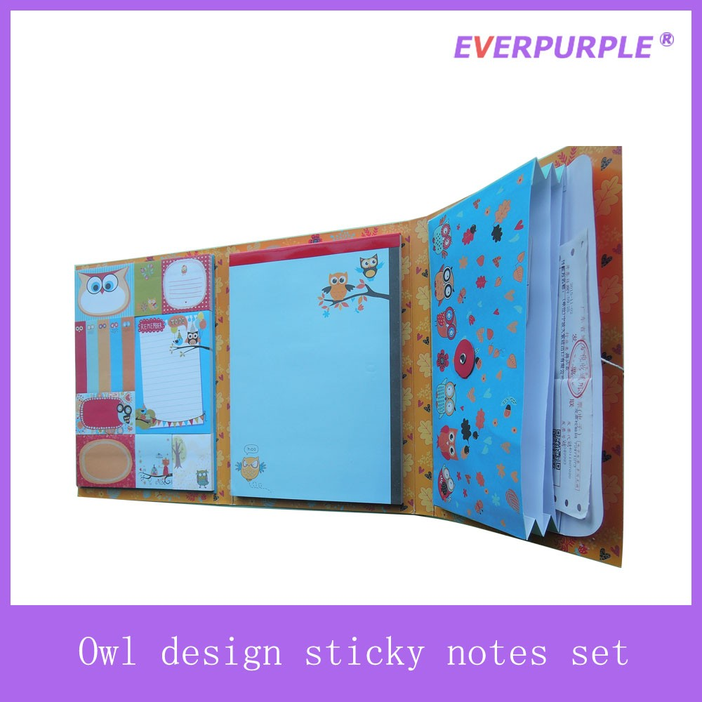 Owl design colourful printing notepad,sticky note pad,owl notepad with storage envelope