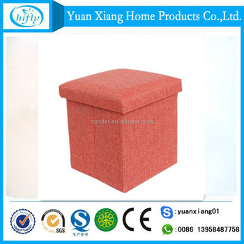 New style sturdy red canvas fabric folding storage stool with lid