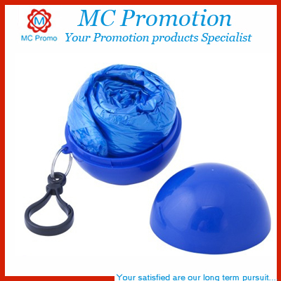 Ball Keychain Attached Disposable Rain Poncho with Sleeves