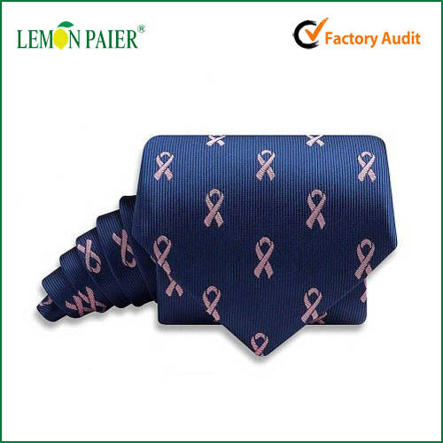 Manufacturer Custom Pink Ribbon Dark Blue Woven Tie