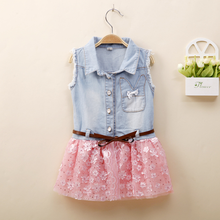 MS70208B wholesale girs fashion designs denim dress with lace splicing