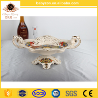 2016 Exquisite decoration food fruit tray dish plate / ceramic fruit dish /serving dish with stand
