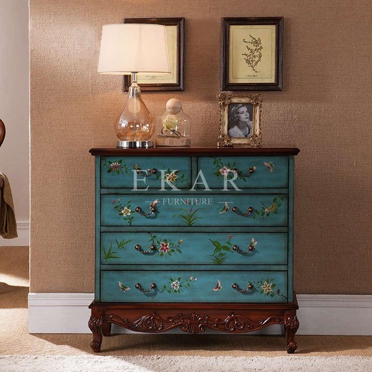 Antique en bois chambre coucher meubles d 39 int rieur en bois peint cabin - Meuble peint en bleu ...