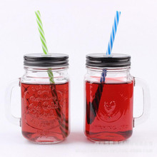 High quality 16oz drinking glass mason jar with handle straw and tin lid wholesale