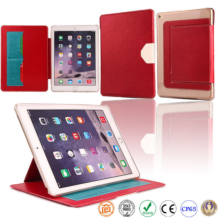 book style TPU leather mobile phone case for ipad air 2 ipad 6