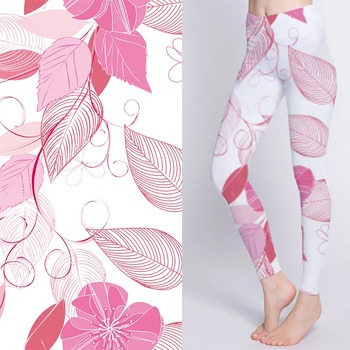 Breathable digital printed stretch leaves print fabric