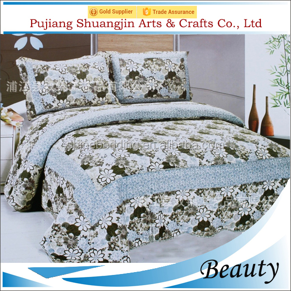Alibaba supplier 100% quilted polyester microfiber 3pcs flower patchwork 3d bedspread