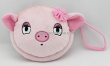 pink pig shape plush coin handbags for kids fishonal gifts / plush coin bag