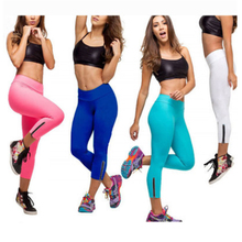 High Quality Comfortable Stretch Zipper Sport Candy colors Fluorescent Leggings