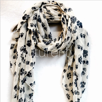 2018 new Fall winter design 180*90 women latest new design lovely cute dog paw printed voile scarf long animal scarf