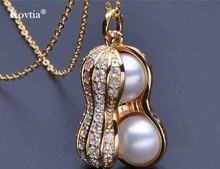 Fashion accessories factories hot sale peanut-shaped pearl and zircon pendant necklace