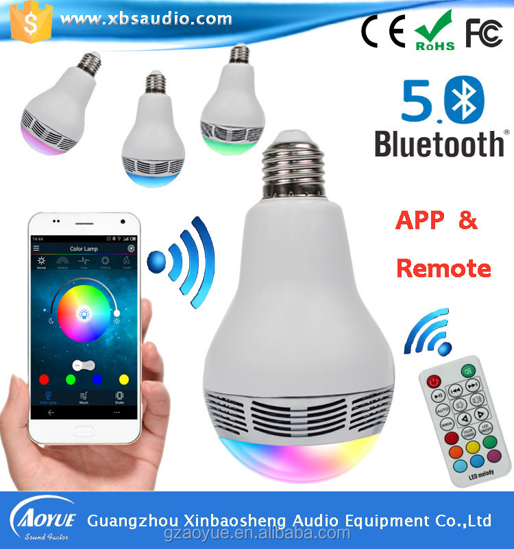 Led dimmable bluetooth speaker E27 6W RGBW Bulb + Wireless Remote + Smart Wifi Bridge iOS /Android APP CE,ROHS