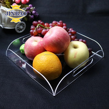 JINBAO Custom Black clear Acrylic Lucite Rectangular Plastic Serving Tray with Handles