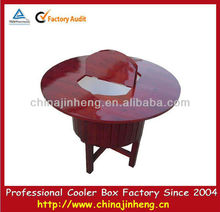 50L wooden cooler table with camping barrel cooler box container--logo printing available