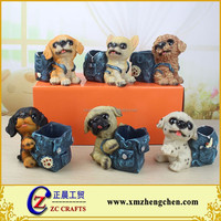 Handmade cute dog desktop single pen holder 6 types