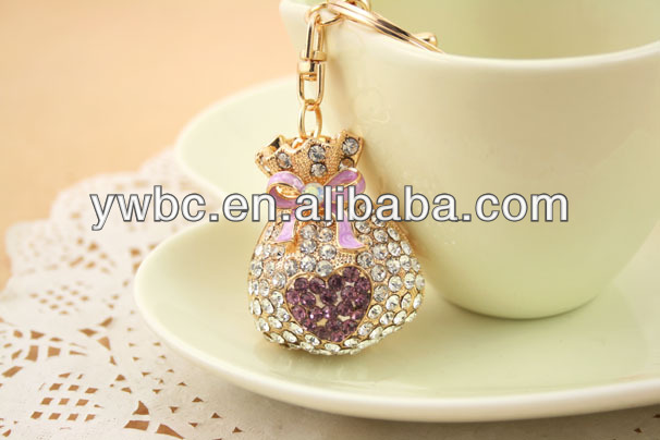 High Quality Full Crystal Lucky Purse purple Coin bag Keychain Alloy Keyring handBag Charm YS093 <strong>002</strong>