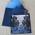 Floral Navy Blue Laser Cut Wedding Invitations