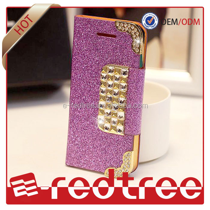 Purple purse stylish bling wallet new leather cases for iphone 4s 5s