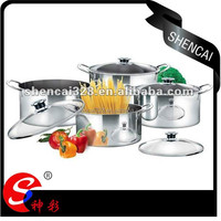 Hot Sale multlfunction 8 Pcs Stainless Steel Shallow Stock Pot Set/ cooking pot with glass lid