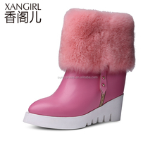 Sexy fashion stylish for ladies 100% genuine leather rabbit fur boots women