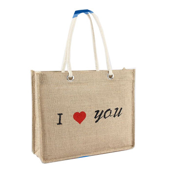 Newest selling different types custom I love you burlap bag twine tote
