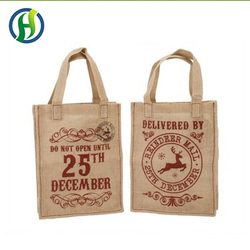 Wholesale custom design printed jute luggage tote bag casual for travel shopping daily use