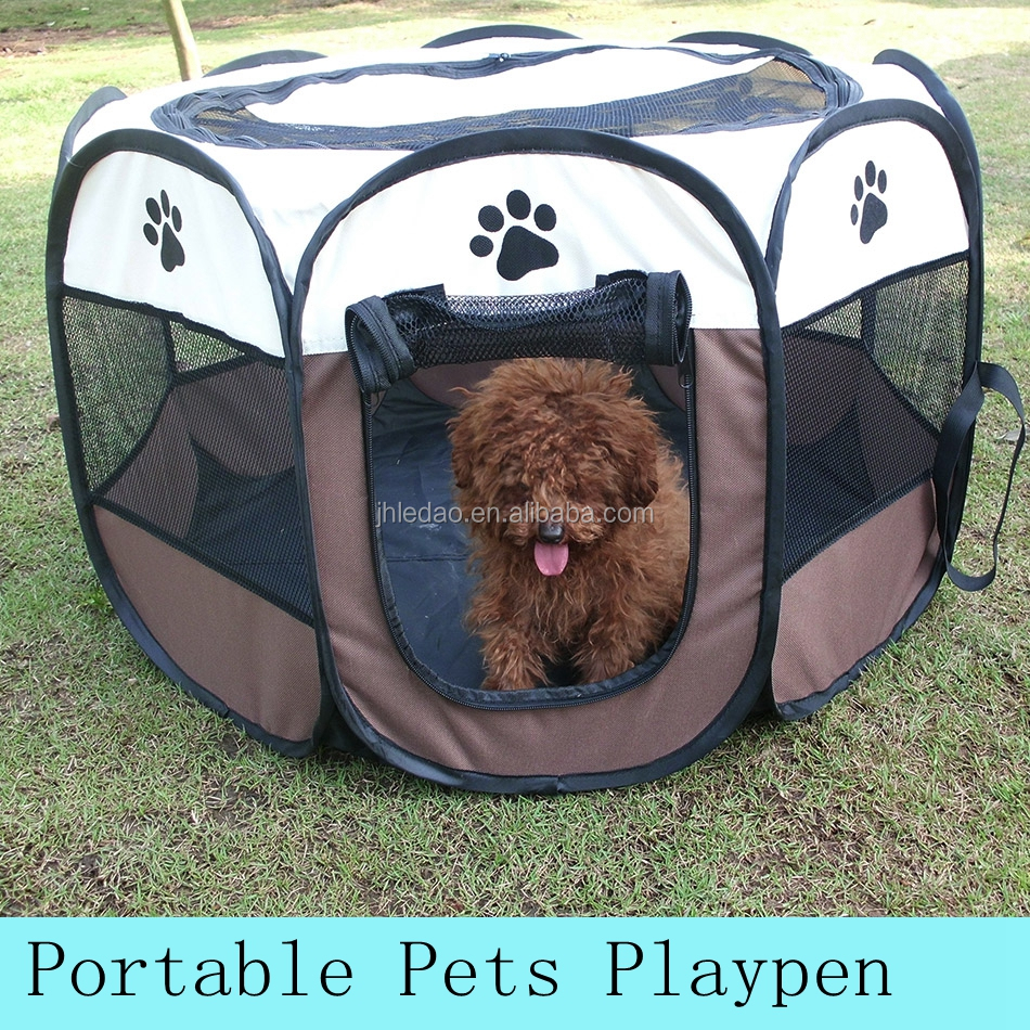 Ledao White Puppy Playpen Dog Exercise Kennel Cats Pet Portable Foldable Pen