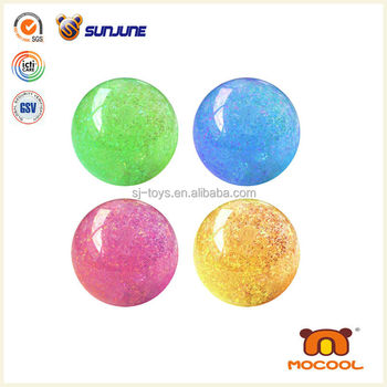 45mm promotional glitter water bouncing ball, flashing light led ball