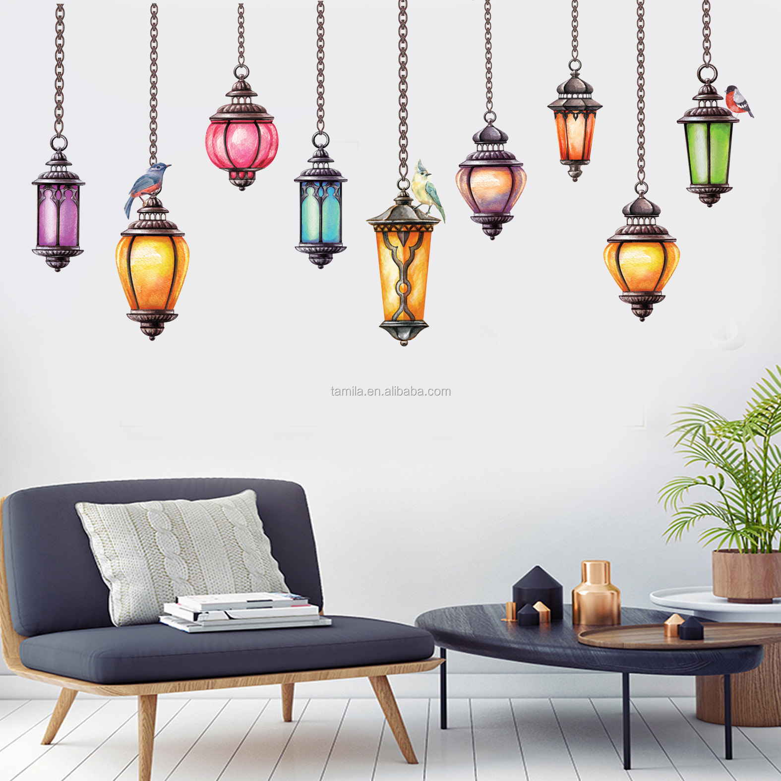Vintage pendant lamp drop light decorative pvc decal for furniture decor bathroom waterproof sticker
