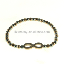 Customized Hot Item Fashion Stainless Steel beads Chain Bracelet With Crystal Infinity Charm