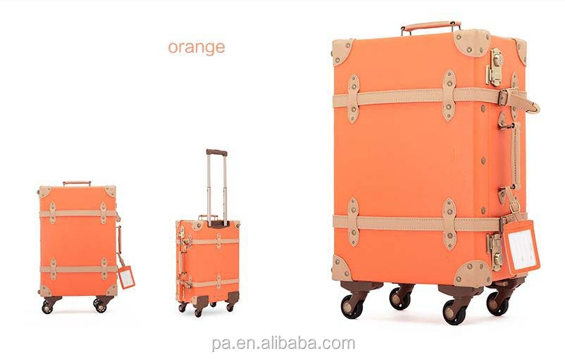 PU Vintage Luggage with spinner wheels/Fashion ABS shell Trolley Luggage suitcase