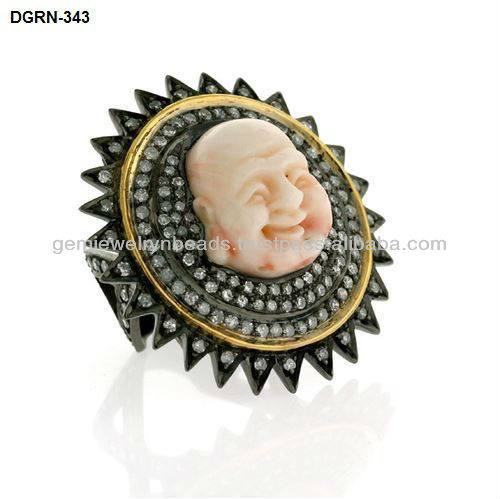 Laughing Buddha Carved Gemstone 925 Sterling Silver Sun Designed Pave Diamond Ring