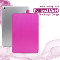 Factory Best Price Portugal Hot Pink Ladies Style Triple folding Design 7.9 Inch PU Leather for Mini ipad Case