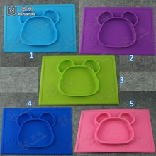 On line shopping New design lovely panda mat 15*10 inch Super strong suction silicone baby placemat for <strong>kids</strong>
