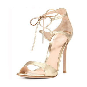 Genuine leather gold color wholesale high heel fancy new model women sandals