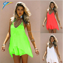 Guangzhou clothing factory oem women sexy summer mini dress 2017 sleeveless chiffon dress
