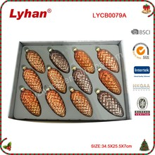 wholesale glass pine cone machine blow for Christmas tree Decoration