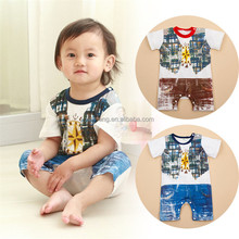 Wholesale soft baby boy romper high quality summer jumpsuit suspender baby romper with latest design